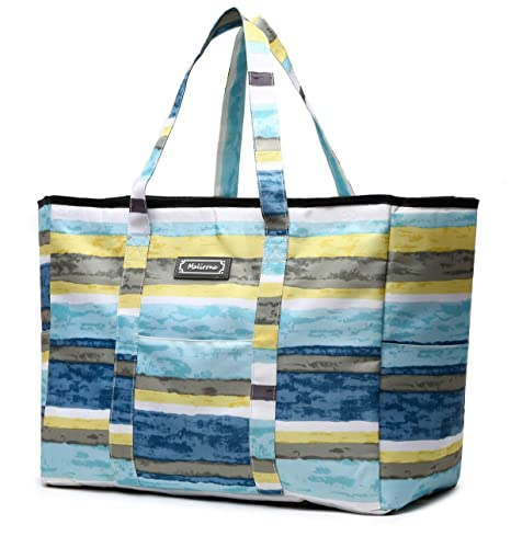 6792017e8574 Malirona Polyester Large Tote Bag, Folds Flat, Water Resistant, Sturdy  Base, Beach bag, shopping bag, outdoor storage bag (Sky stripe)