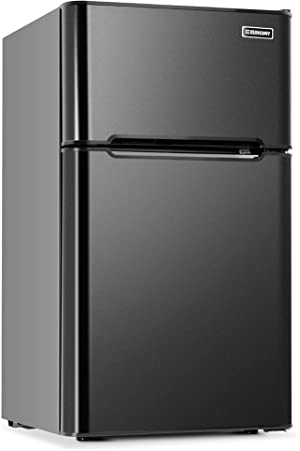 Euhomy Mini Fridge with Freezer, 3.2 Cu.Ft Compact Refrigerator with freezer, 2 Door Mini Fridge with freezer, Upright for Dorm, Bedroom, Office, Apartment- Food Storage or Drink Beer, Black