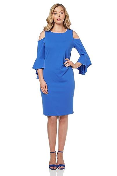 bcd08225641e2 Roman Originals Women s Flute Sleeve Scuba Dress - Ladies Cold Shoulder  Dresses - Blue - 20