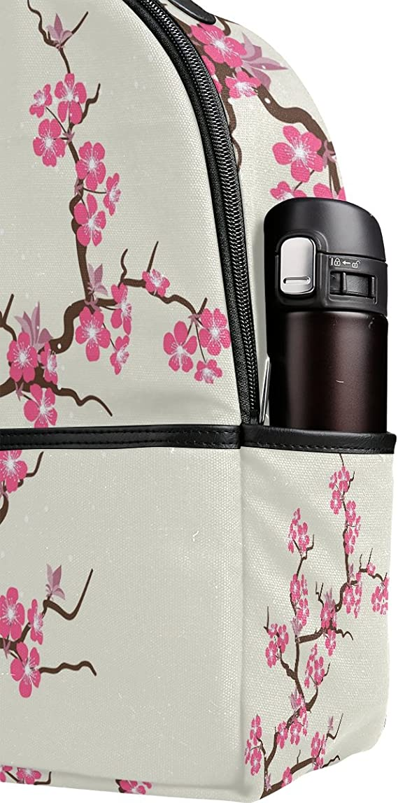 MONTOJ Pink Cherry Blossom Flowers Polyester Travel Backpack Laptop Backpack