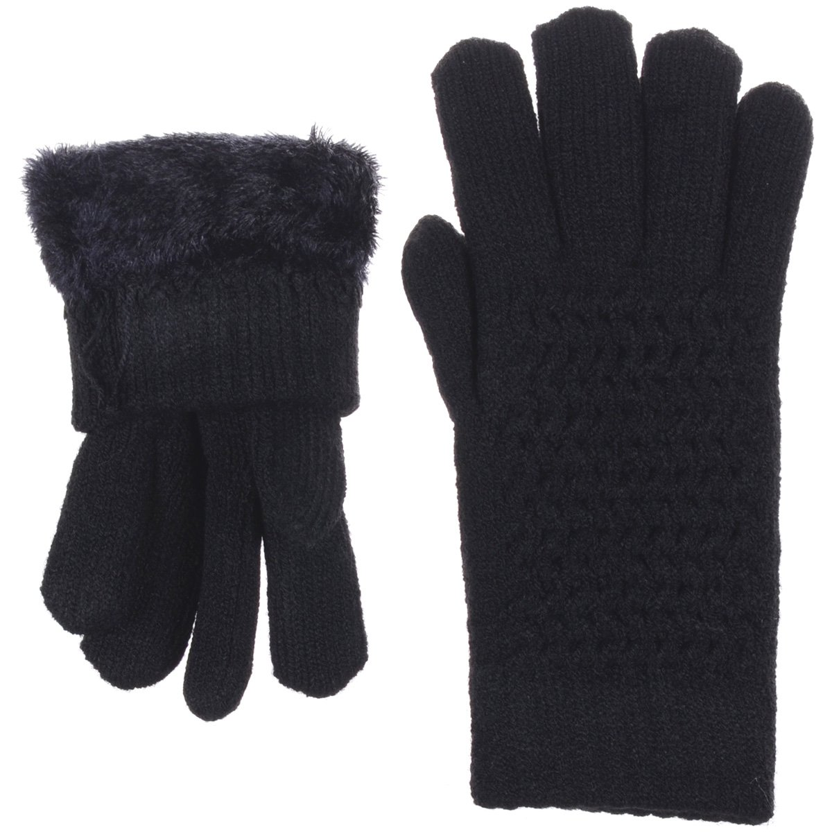 BYOS Womens Winter Ultra Warm Soft Plush Faux Fur Fleece Lined Knit Gloves W/Decorated Cuff (Black Net) by Be Your Own Style (Image #3)