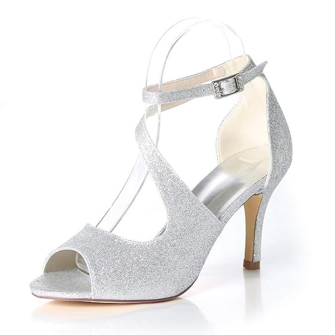 Elobaby Boda Mujeres Zapatos Satén Vestidos Peep Hebilla Toe De qCHBxtq