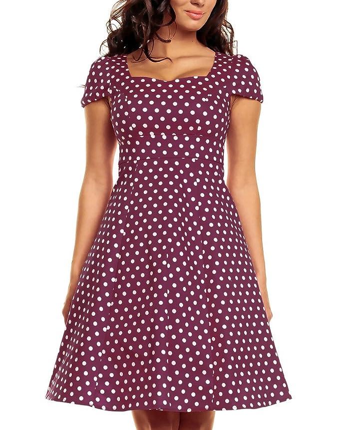 Vintage Polka Dot Dresses Cap Sleeves 50s 60s Rockabilly Swing Short ...