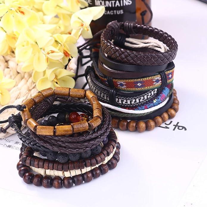 Finrezio 15Pcs Braided Leather Bracelets for Men Women Hemp Cords Wood Beads Ethnic Tribal Friendship Bracelets Leather Wristbands Adjustable