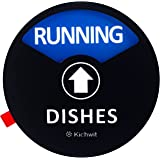 """Kichwit Clean Dirty Dishwasher Magnet with The 3rd Option""""Running"""", Perfect for Quiet Dishwashers, Non-Scratch Strong Magnet Backing & Residue Free Adhesive, 3.5"""" Diameter, Black"""