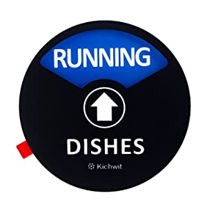 "Kichwit Clean Dirty Dishwasher Magnet with the 3rd Option ""RUNNING"", Perfect for Quiet Dishwashers, Non-Scratch Strong Magnet Backing & Residue Free Adhesive, 3.5"" Diameter, Black"