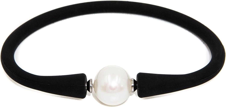 Secret & You Pulsera de Mujer de Perla cultivada de Agua Dulce de 11-11,5 mm Pulsera de Caucho con Sistema para intercambiar la Perla por Otra de distinto Color u Otra Gema.
