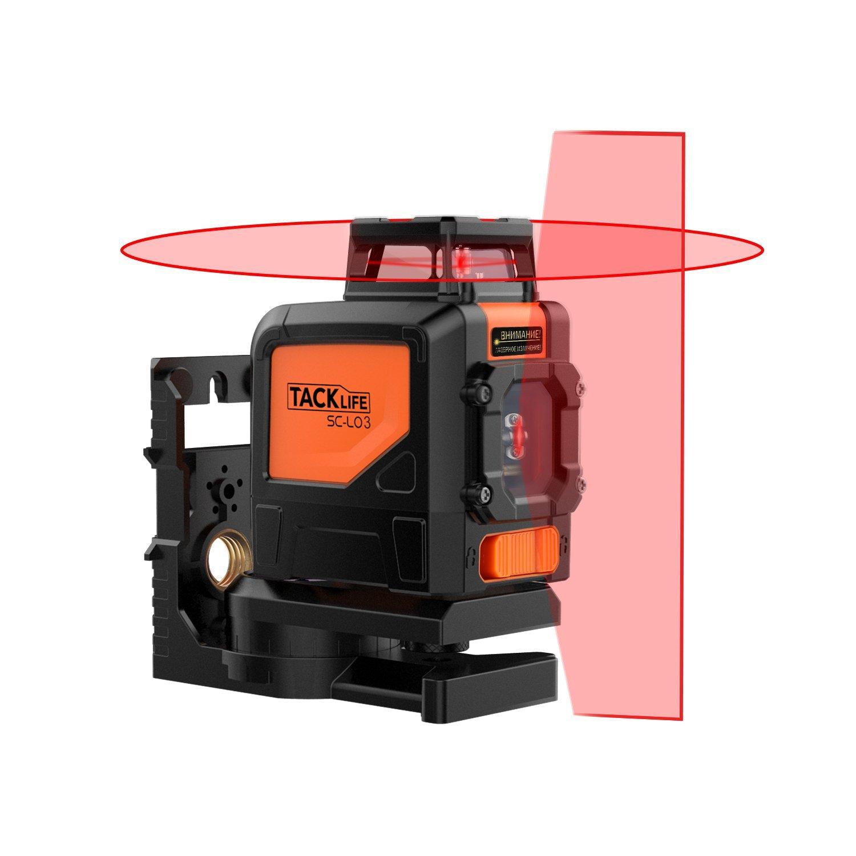 Tacklife SC-L03 Niveau laser professionnel à lignes croisées, 30m. Ligne d'auto-nivellement - Ligne verticale à 110° et et ligne horizontale à 360°, avec mode impulsion à 2temps pleins et mode in