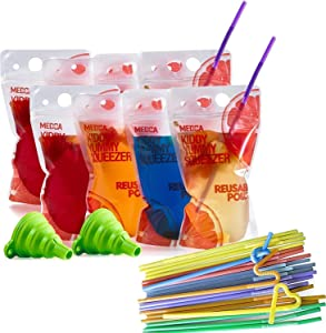 Reusable Drink Pouches - (402 Piece Set) 200 Clear Drink Bags + 200 Straws - 16 oz Double Zipper Reusable Smoothie Juice, Clear Zipper Pouch Storage with No Leaks, Environmentally Friendly & BPA Free