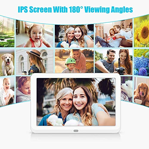 toberto Smart Digital Photo Frame with 1920×1080 IPS Screen, Digital Picture Frame Support Adjustable Brightness Photo Deletion 1080P Video Picture Frames16 9 Widescreen 10 inch White