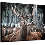 Elk Wall Art Deer Artwork: Wild Animal Picture Painting Print on Canvas for Office (36'' x 24'' x 1 Panel)