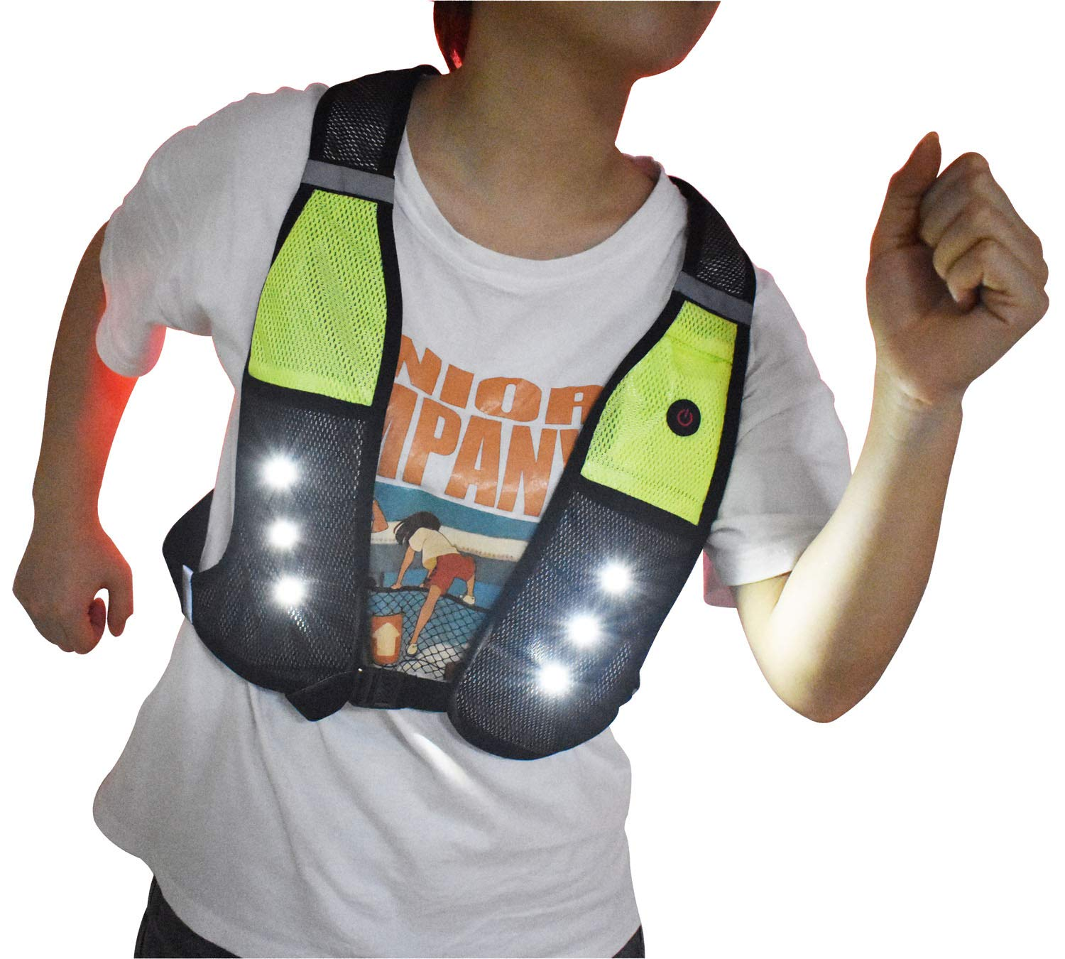 Reflective Running Vest with LED Lights USB Rechargeable Safety Gear Vest, Adjustable Waist Phone Pockets, High Visibility Light Up Flashing Vest for Men Women Kid Runner Walker Cyclist(Large/X-Large)