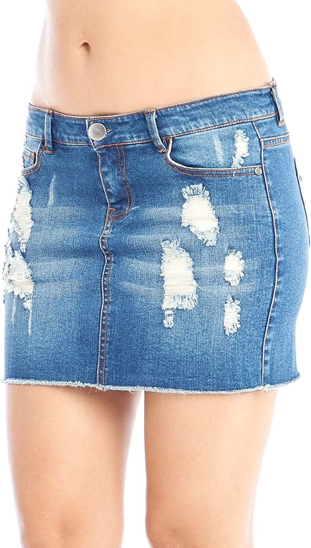 Hollywood Star Fashion Womens Distressed Denim Mini Skirt