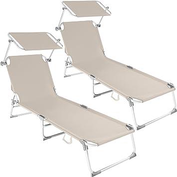 TecTake Lot De 2 Chaise Longue Bain Soleil En Aluminium Pliable Avec Parasol Pare