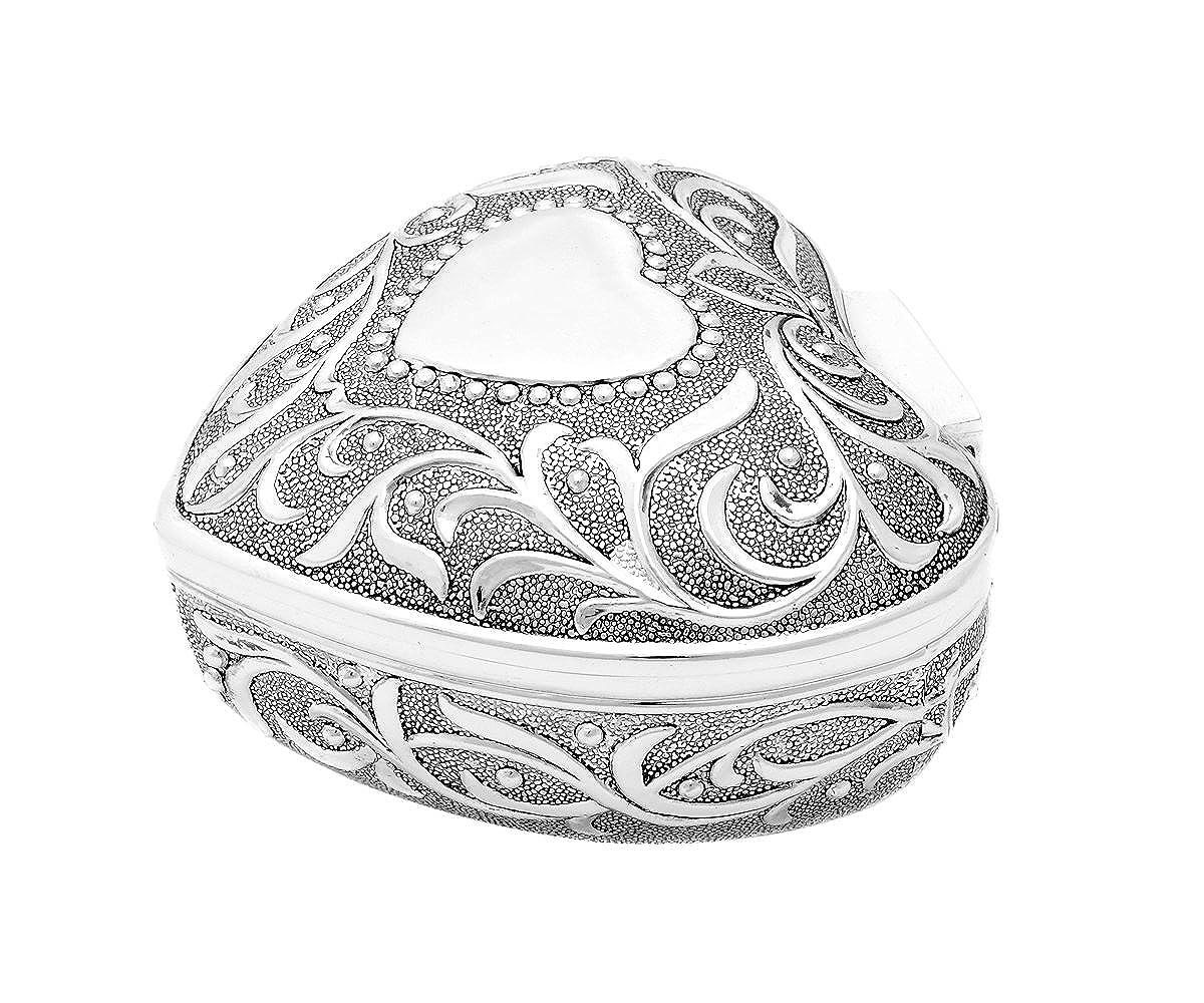 Brillibrum Design Schmuckdose In Herz-Form Antik Antik Antik Silber Schatulle Schmuckkästchen Versilbert Herz Gravur Ringetui caea59
