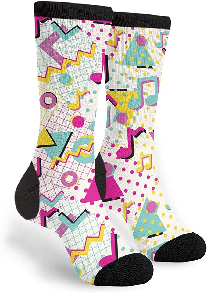 Vintage Style Socks- Knee High, Bobby, Anklet Colorful Abstract 80s Style Musical Notes Unisex Adult Fun Cool 3D Print Colorful Athletic Sport Novelty Crew Tube Socks $12.99 AT vintagedancer.com