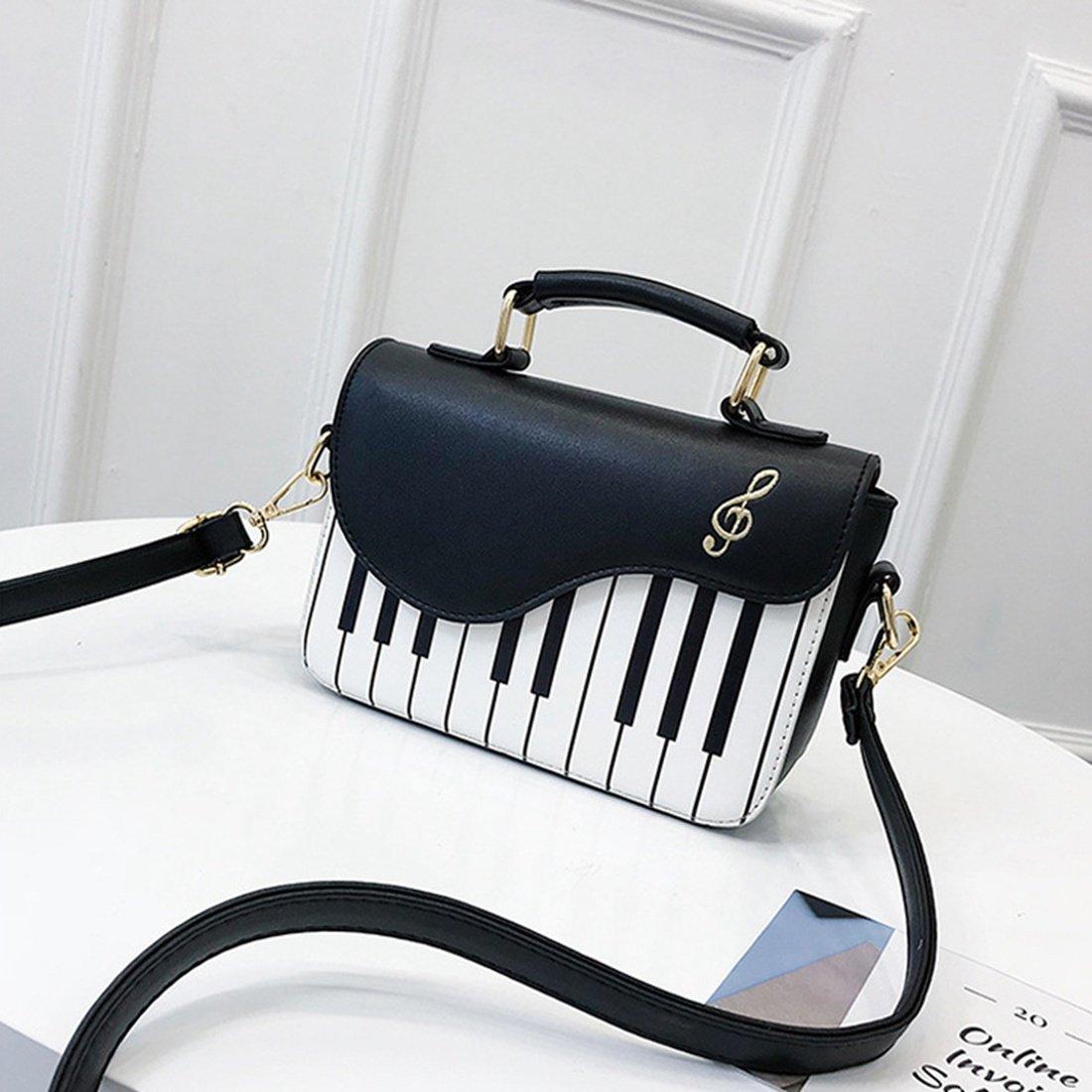 Cikuso Negro nueva moda color de golpe bolso de impresion de piano dulce viento fresco hombro diagonal portatil pequeno bolso
