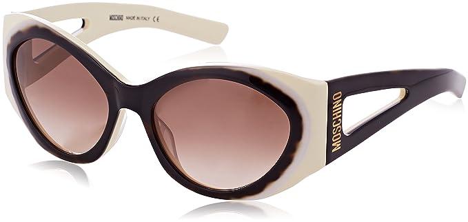 Womens Round Eye Sunglasses, Brown (Havana/Bianco), 57 Moschino