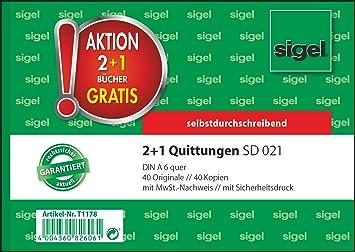 2 x 40 Blatt selbstdurchschreibend SIGEL Quittung A6 SD021 2+1 BUNDLE mit MwSt