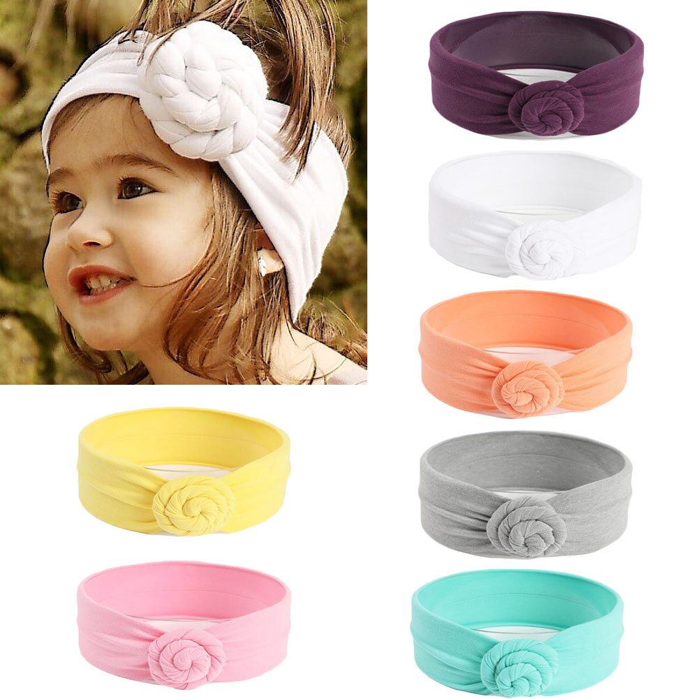 DANMY Baby Hair Hoops Headbands Girls Elastic Soft Headband Bow Turban Children Hair Band