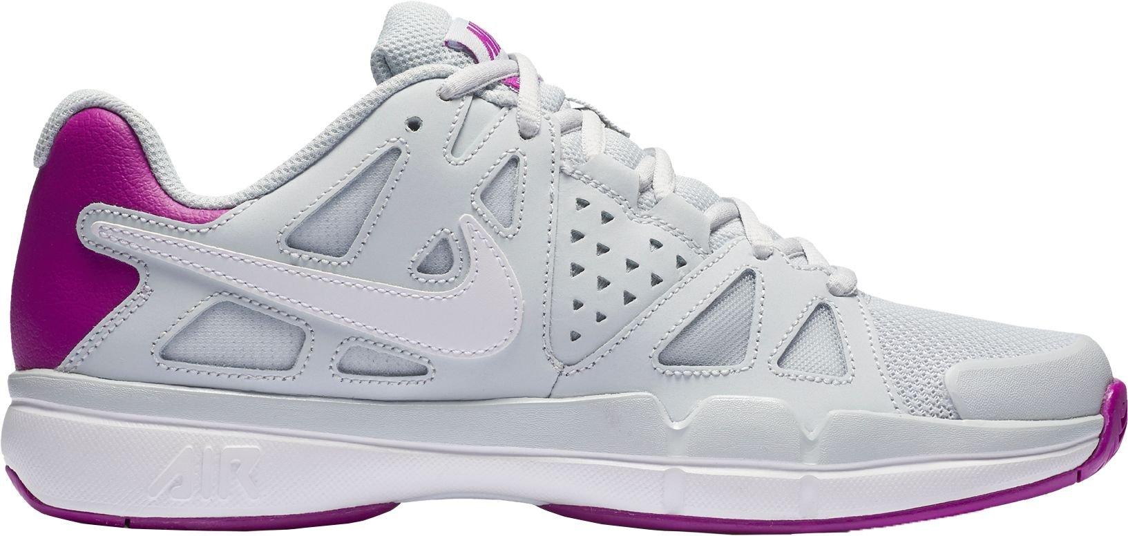 Nike Women's Air Vapor Advantage Tennis Shoe (Grey/Purple, 7)