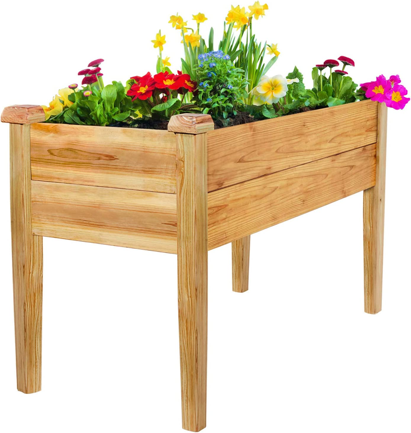GADI Wood Raised Garden Bed, 100% Rot-Resistant Elevated Wood Planter Box Kit for Backyard, Patio, Balcony, Natural (Nature)