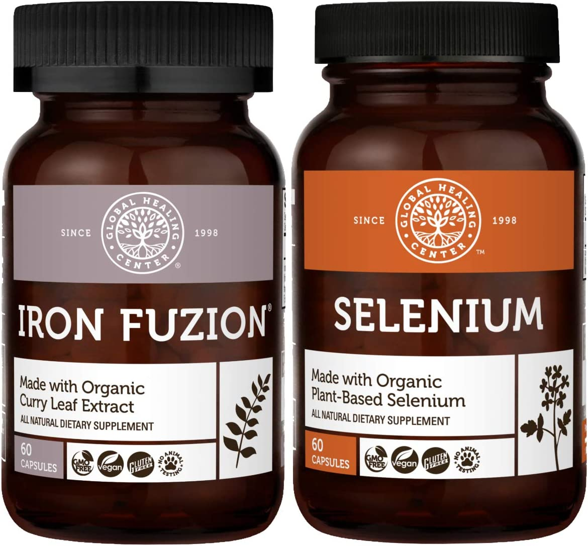 Global Healing Iron Fuzion & Selenium Kit - Vegan Supplement For Blood Builder Support and Natural Energy & Brain Health and Antioxidant For Thyroid Support & Immune System Health - 120 Capsules Total