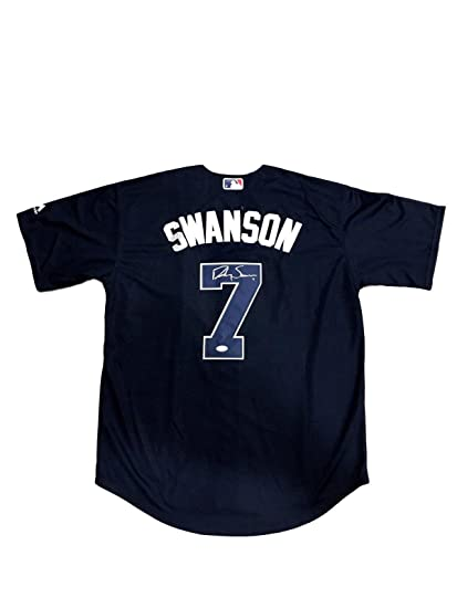 e3ac5b603 Signed Dansby Swanson Jersey - Navy Alternate - JSA Certified - Autographed  MLB Jerseys