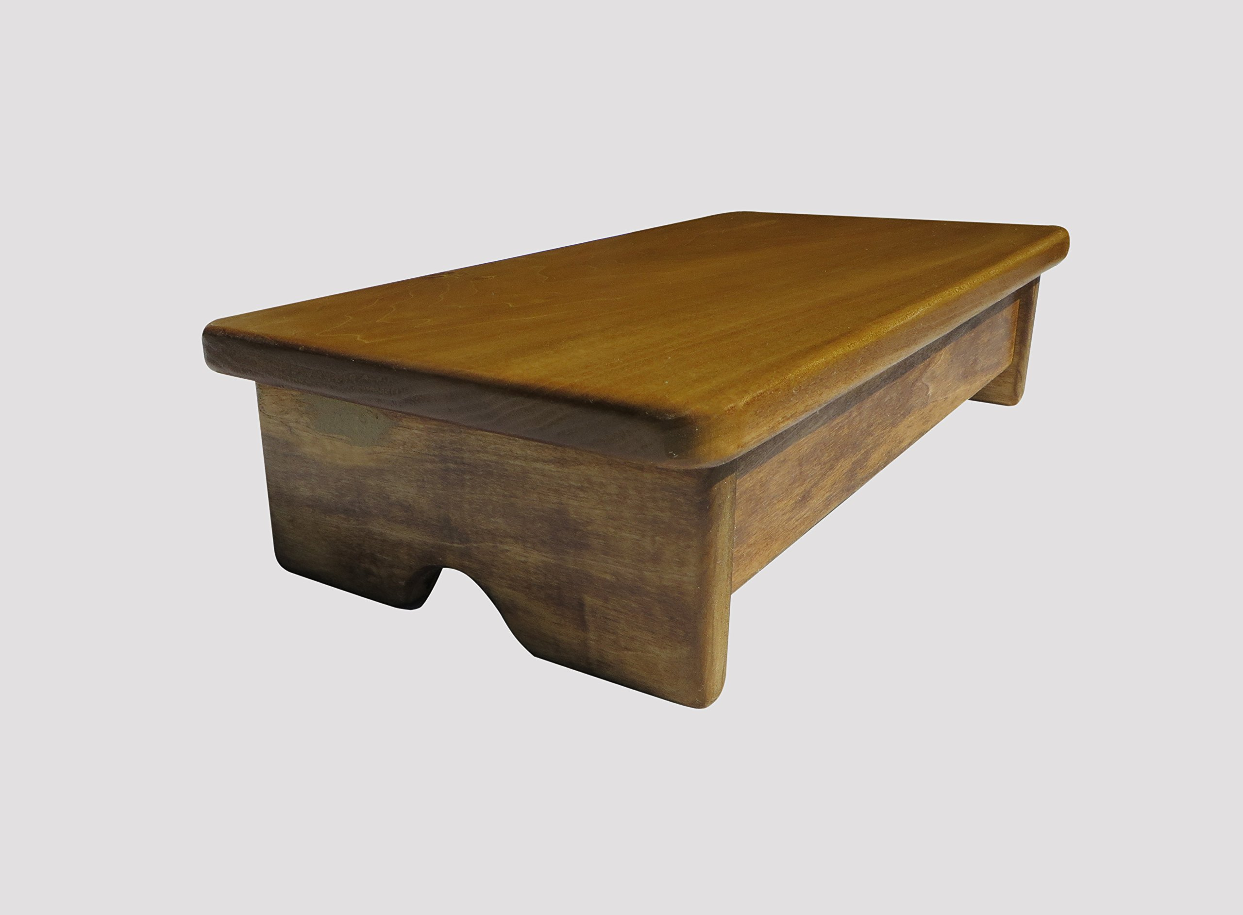 Garage Foot Stool 4'' Tall Poplar Wood (Made in the USA) (Maple Stain)