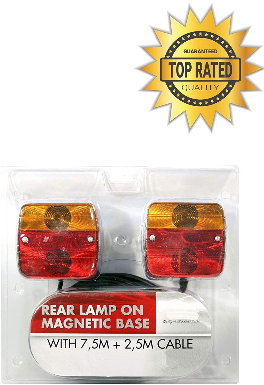MAGNETIC TRAILER REAR LIGHT BOARD TOWING LIGHTS LAMPS 7.5M CABLE PLUG CARAVAN