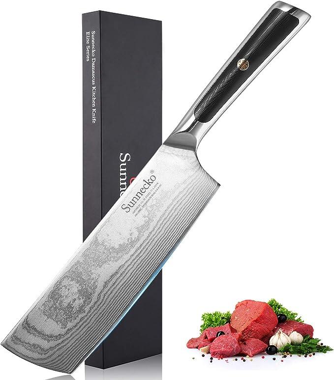 Cuchillo de Cocina China 7 pulgadas - Sunnecko Macheta de cocina china Profesional Japonés Damasco Cuchillos Verduras Chop Cutter Hachuela Ultra Filoso: Amazon.es: Hogar