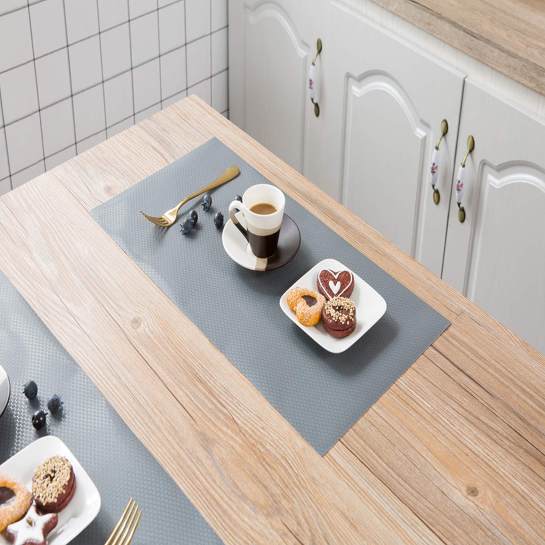 Grey Non-slip Non-Adhesive Waterproof EVA Washable Drawer Liners Mat Cabinet Pad Fridge Liners 45x150cm Kalokelvin 3 Rolls DIY Shelf Liners