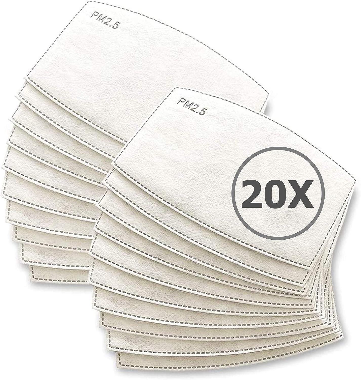 TBOC Filtro Desechable para Mascarilla - [Pack 20 Unidades] Lote de Filtros PM 2.5 Intercambiables con 5 Capas de Filtración Material Suave y Transpirable Evita Polvo Sustancias Nocivas Contaminación