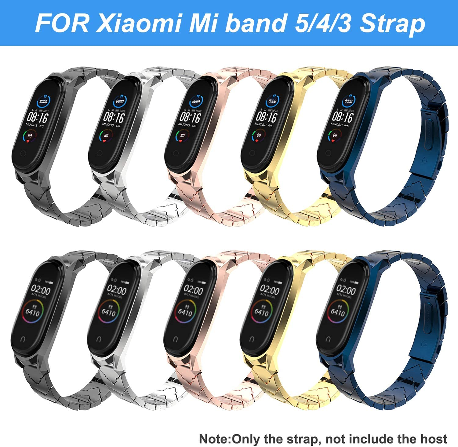 Mijobs Correas de Mi Band 5 Bracelet,Pulsera Acero Inoxidable Metal Replacement Band para Mi Band 5 Correa No Host