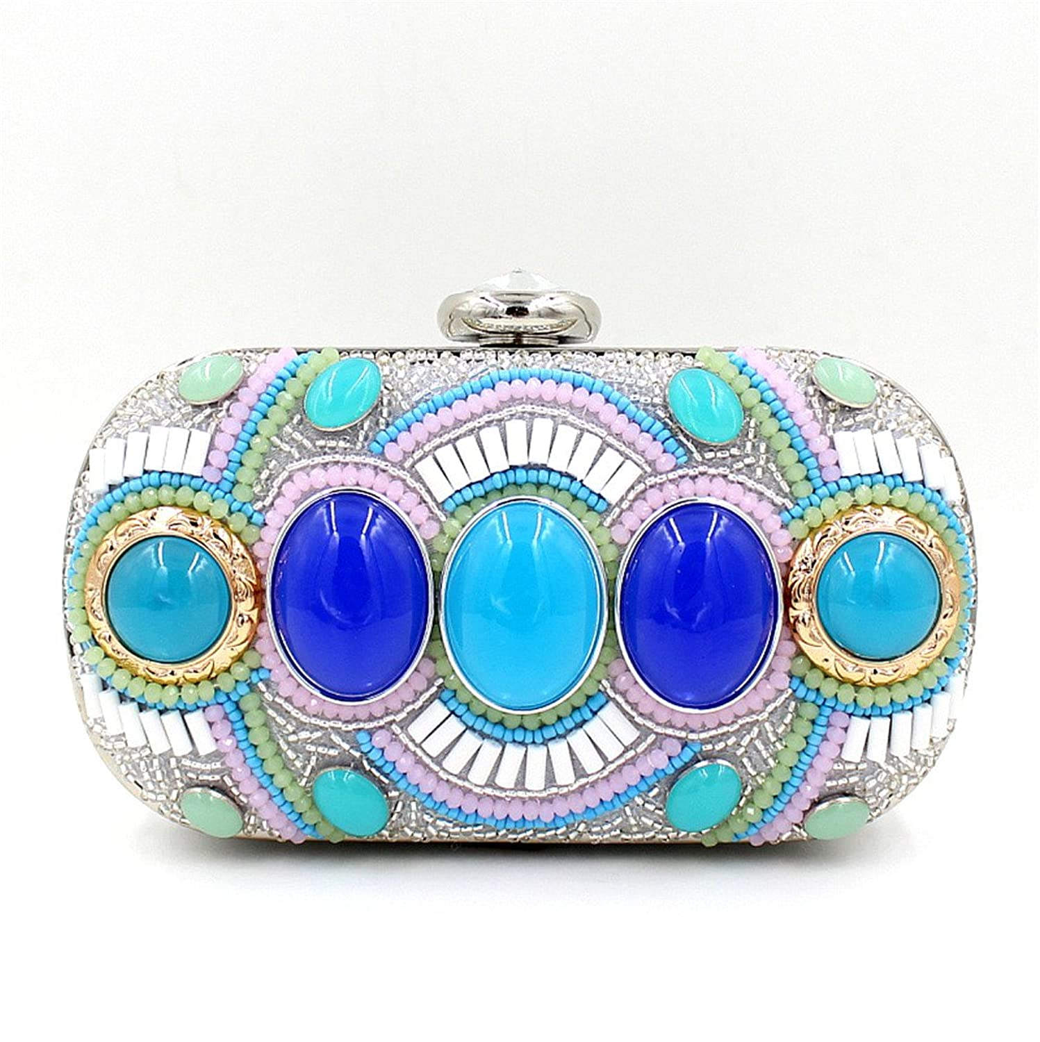 Chirrupy Chief?Acrylic Stone Decorated Pearl Beaded Party Handbag Evening Party Clutches (1)