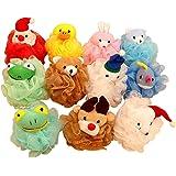 Bath Shower Sponge Pouf Loofahs 5 Packs, Mesh Brush Animal Shower Ball Great Christmas Gift for Kids (Style 2))