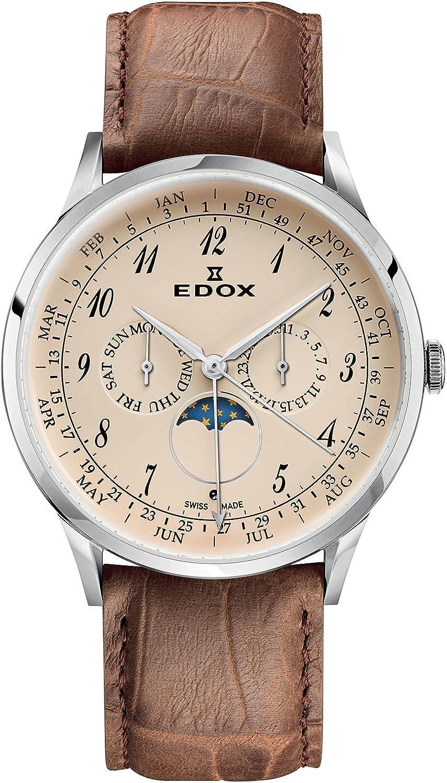 EDOX Reloj Analogico para Hombre de Cuarzo con Correa en Cuero 40101-3C-BEBN