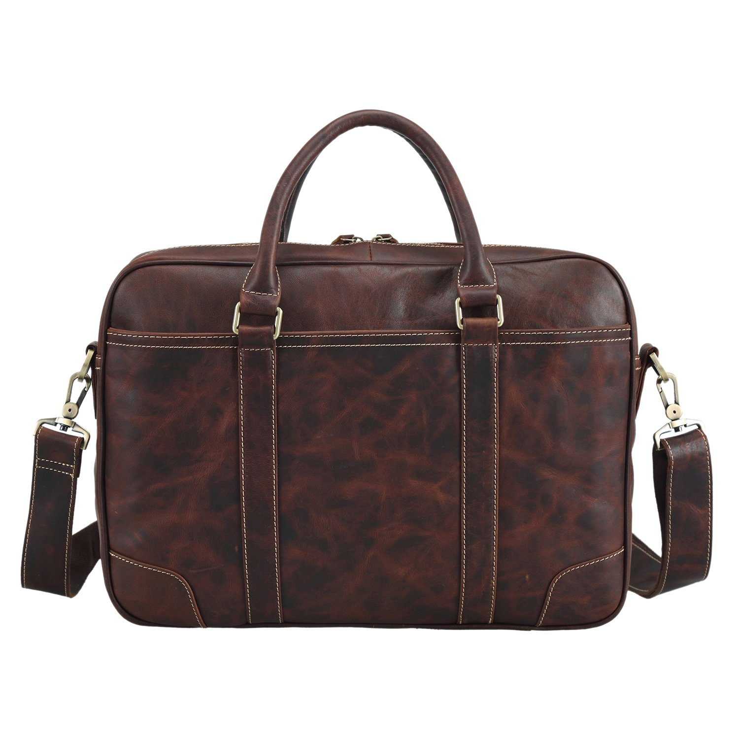Texbo Genuine Top Cow Leather Business Briefcase Fit 15.6'' Laptop Bag Tote (Dark coffee)