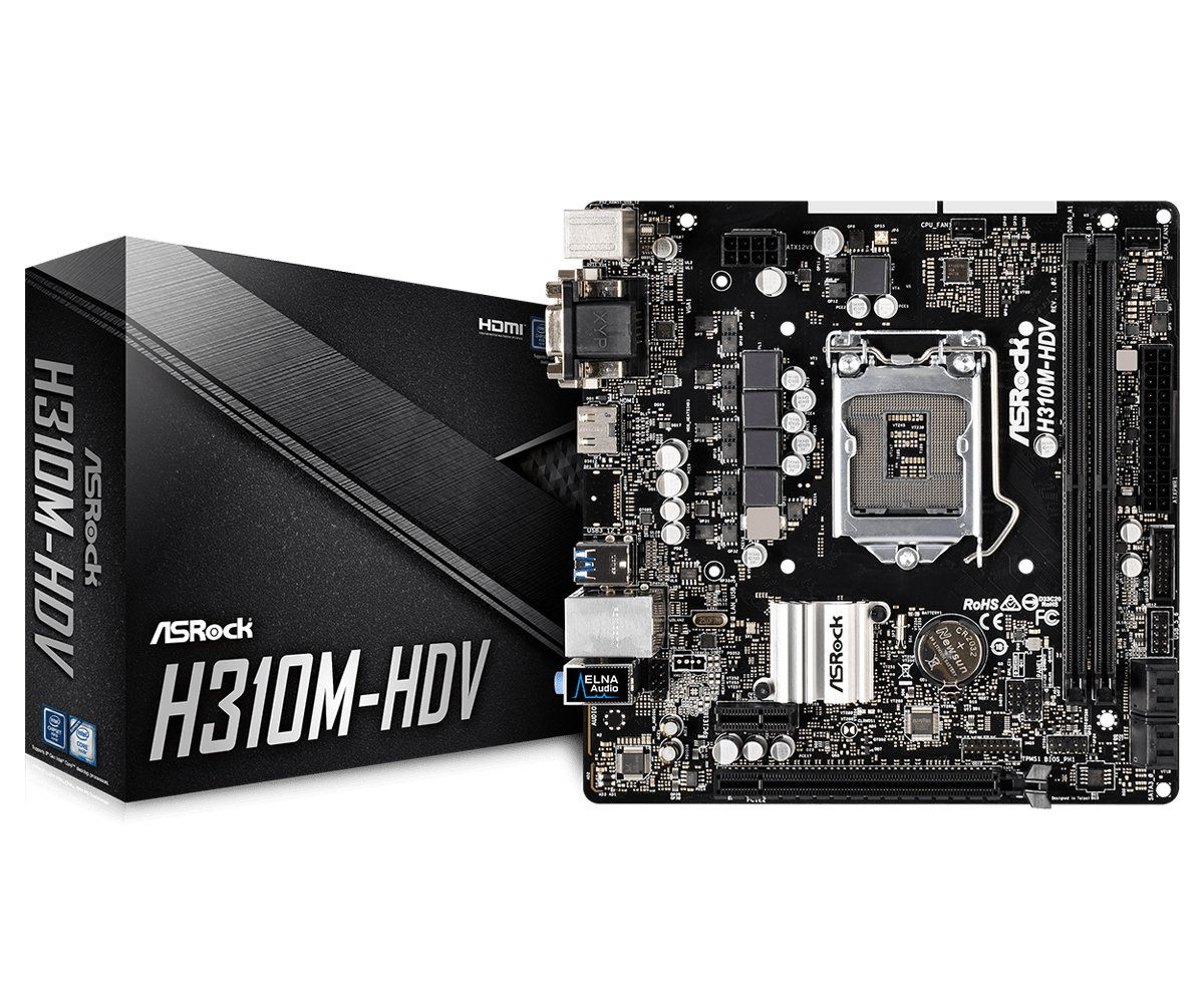 ASRock H310M-HDV LGA1151/Intel H310/DDR4/SATA3&USB3.1/GbE/MicroATX Motherboard by ASRock (Image #1)
