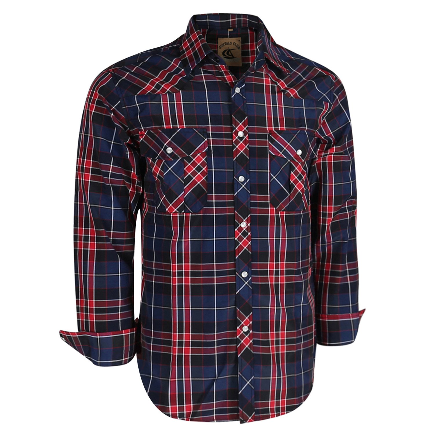 Coevals Club Men's Long Sleeve Casual Western Plaid Snap Buttons Shirt