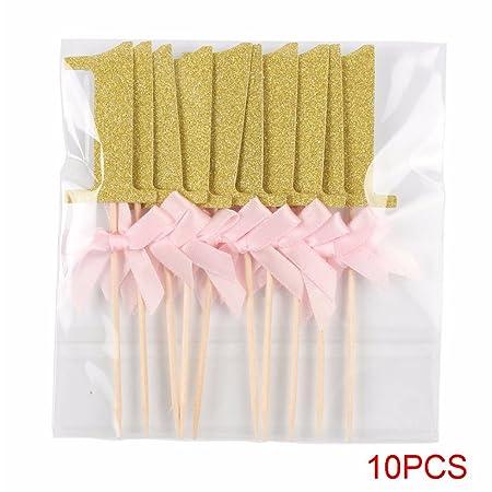 10 piezas de papel de purpurina para decoración de cupcakes de primer cumpleaños, decoración para tarta de fiesta de primer año para niño y niña 2# ...