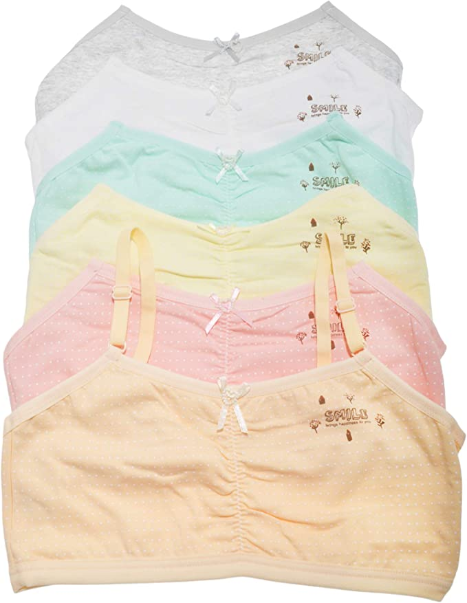 Angelina Girls Cotton Cami Style Training Bras 6-Pack