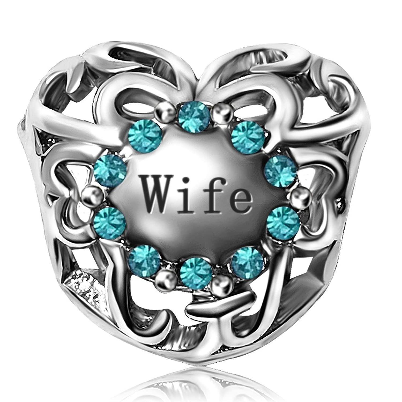 JMQJewelry Heart Wife Charm Birthstone 12Colors Christmas Charms Bead For Bracelets