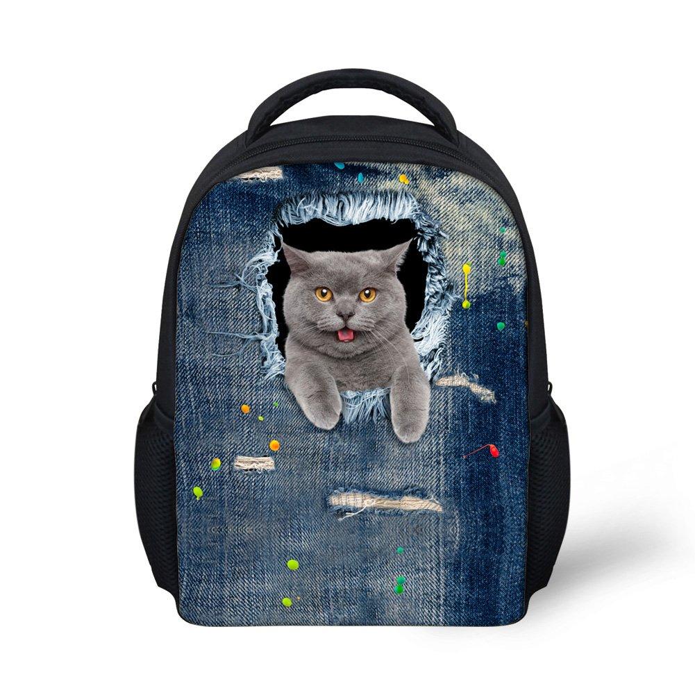 Dellukee ミニ 幼児用バックパック 男の子 女の子 スクールバッグ デニム グレー 猫柄 B07DLYMD4V