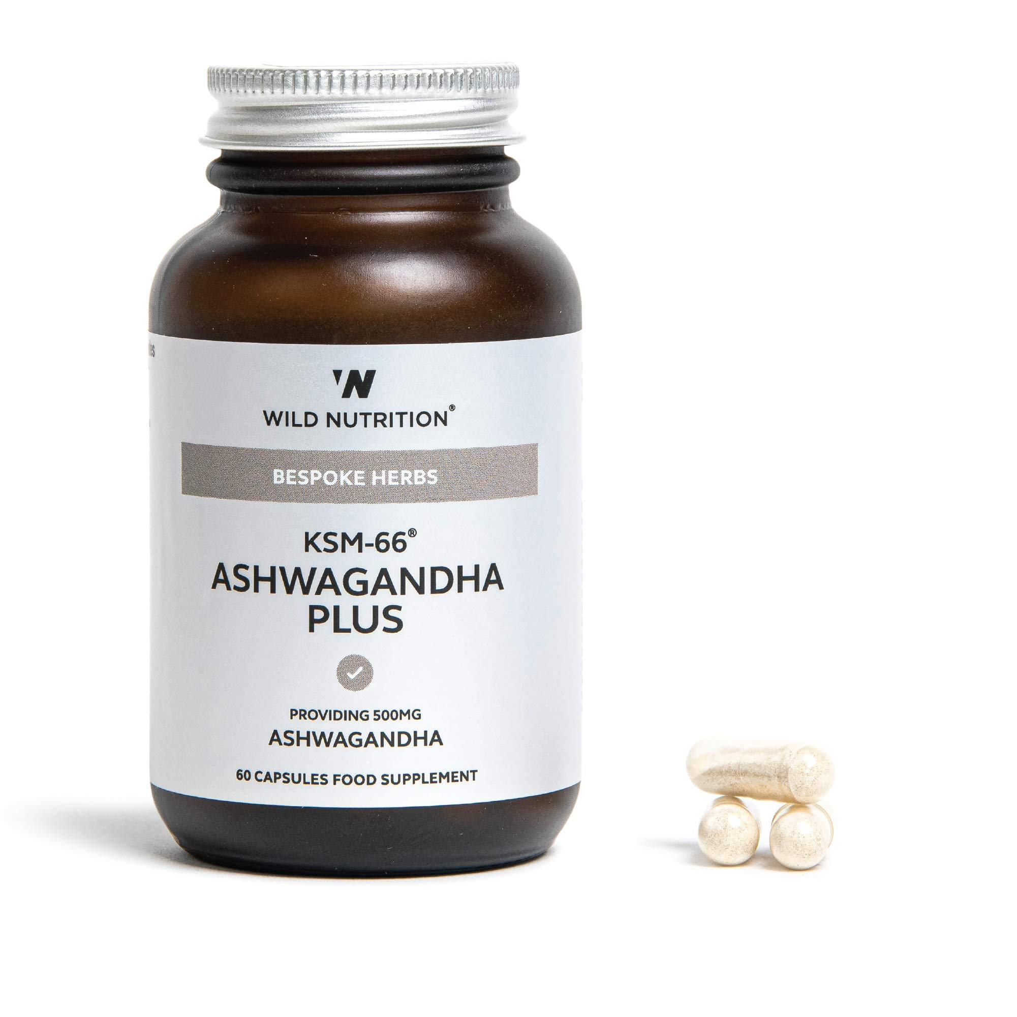 Wild Nutrition – Food Grown KSM-66 Ashwagandha Plus – Natural Mineral Supplement – 60 Capsules