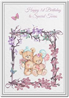 Twins 1st Birthday Card