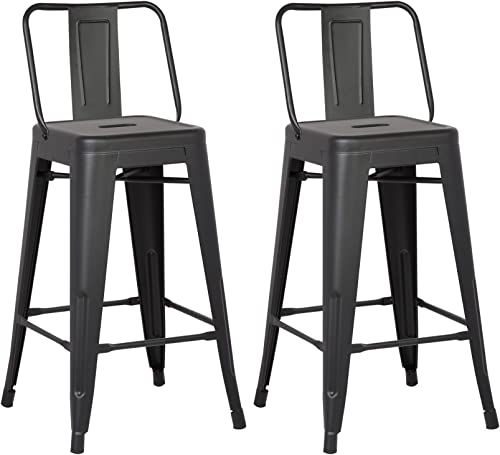 AC Pacific Modern Light Weight Industrial Metal Bucket Back Barstool, 30 Seat Height Counter Stool Set of 2 , Matte Black Finish