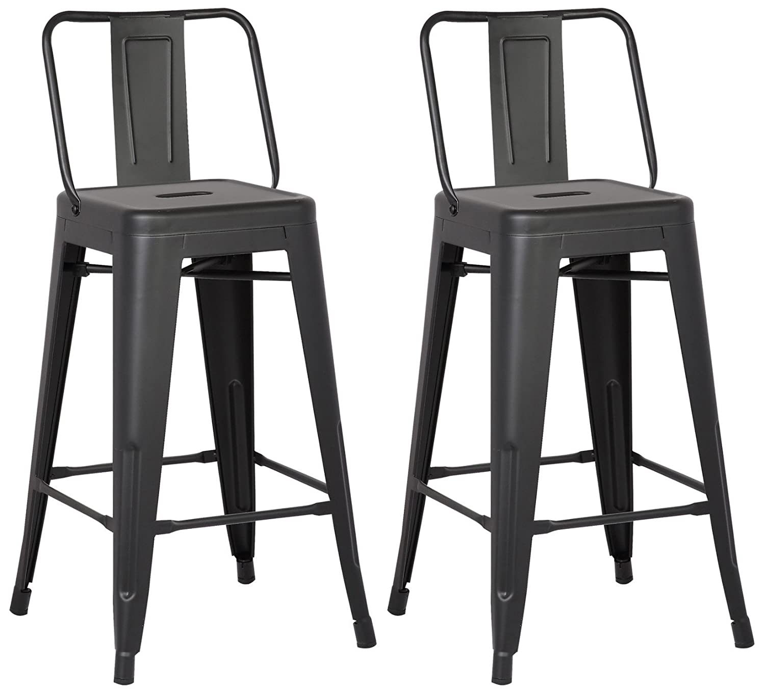 "AC Pacific Modern Light Weight Industrial Metal Bucket Back Barstool, 30"" Seat Height Counter Stool (Set of 2), Matte Black Finish"