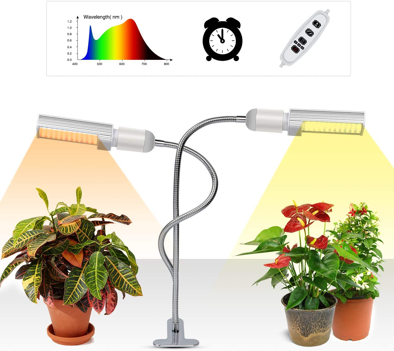 Lámpara de Plantas,45W Lámpara de cultivo de plantas con espectro completo de tipo solar con temporizador 3H/9H/12H, luz artificial para plantas de germinación, plántulas, floración y fructificación