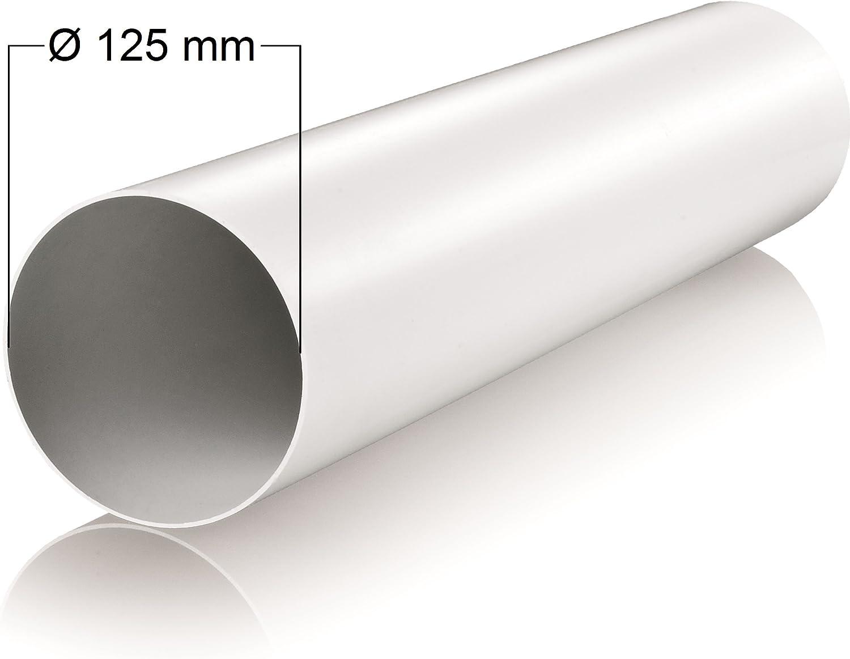 Tuyau /Ø 125/mm Longueur 1/m m/ètres Ventilation en plastique rond Tube rond Canal Tuyau d/évacuation abluft canaux Hotte canaux /Ø 12,5/cm et 100/cm de long tube rond de Syst/ème